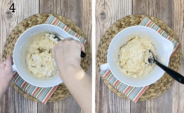 Mixing the beer bread muffins batter in a white mixing bowl