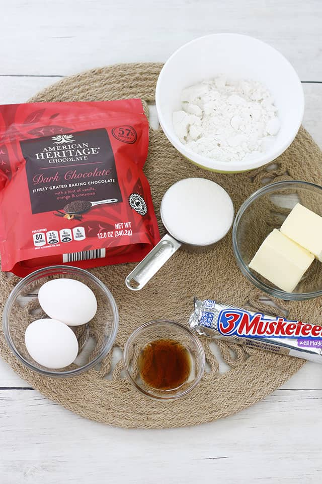 Ingredients for brownie skillet on a natural placemat